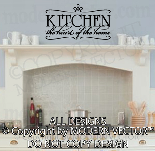 Kitchen Heart of The Home Quote Vinyl Wall Decal Kitchen Breakfast ...