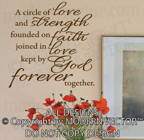 Love Strength Faith Love God Forever Quote Vinyl Wall Decal