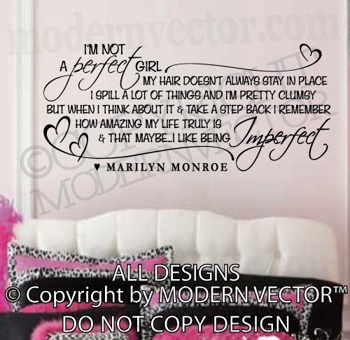 Marilyn Monroe Quote Vinyl Wall Decal I'M not A Perfect Girl Vinyl ...