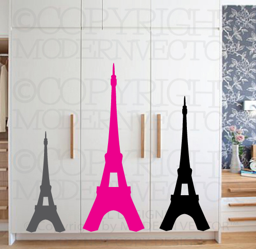 Eiffel tower paris theme vinyl wall decal designs decor girls bedroom nursery ebay - Eiffel tower decor for bedroom ...
